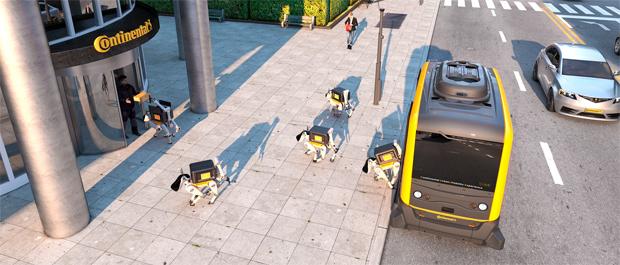 Continental kombiniert autonomes Shuttles mit Lieferrobotern