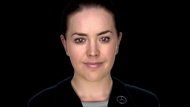 Beim Mobile World Congress präsentiert Daimler Financial Services das Konzept 'Sarah', einen digitalen Avatar. At the Mobile World Congress Daimler Financial Services presents a digital human concept called 'Sarah'.