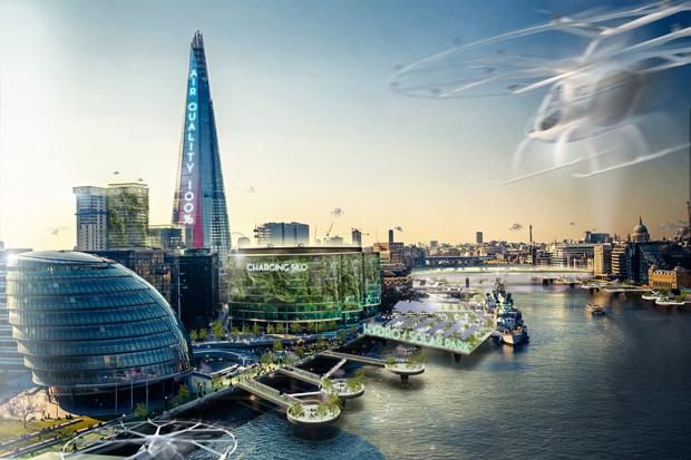 Elektrifizierte Stadtlandschaft der Zukunft